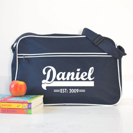 Personalised French Navy Retro Shoulder Bag With Name